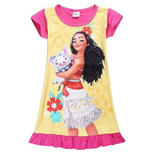 New Pink Cotton Moana Dress Girls Night Gown Size 10 Short Sleeve