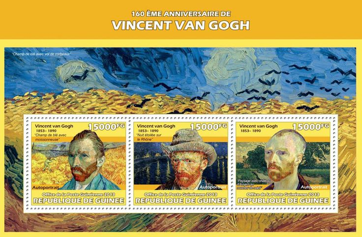 """GU 13616 a160th anniversary of Vincent Van Gogh, (""""Wheat field with harvester"""", """"Starry Night over the Rhone"""", """"Landscape with Castle Auvers at Sunset"""")."""