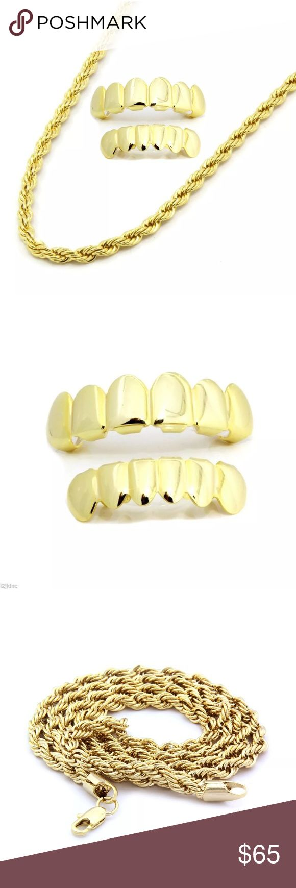 """Grillz and Gold 24"""" Rope Chain SET - Brand New! THIS LISTING IS 1 SET OF GRILLZ (TOP & BOTTOM) PLUS A 4MM 24"""" INCH ROPE CHAIN  Type: Rope Chain Clasp Lobster 14k Gold Plated  Grillz are designed for Bottom & Top teeth and is one size fits all. Includes one silicon fixing bar to keep your grill in tight. COMES WITH EASY TO FOLLOW INSTRUCTIONS AND READY TO WEAR IN MINUTES. Each grillz can fit any teeth no matter how straight or crooked your teeth are you can wear the grillz and remove them…"""