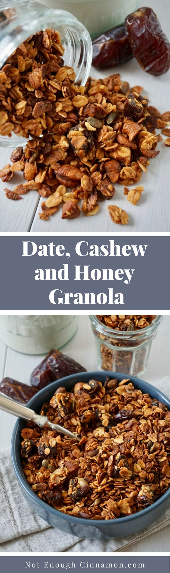 An easy homemade granola recipe that features Medjool dates, cashews and honey. Perfect for breakfast or as a snack!
