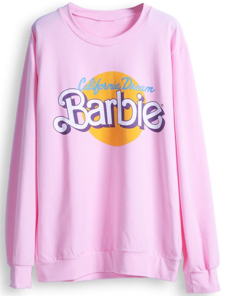 Pink Long Sleeve Barbie Print Casual Sweatshirt 18.24