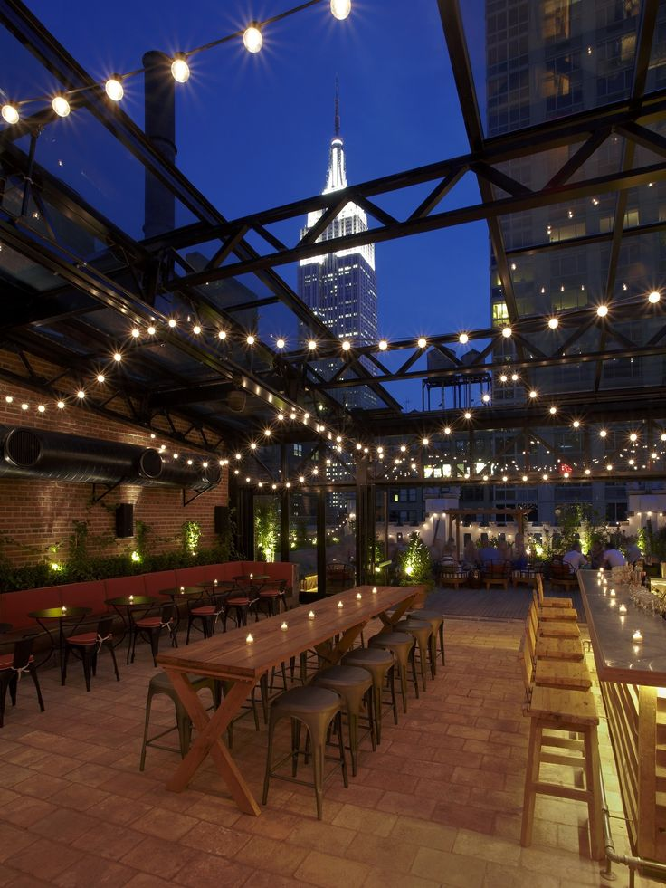The Refinery Hotel in the fashion district, New York City.  The rooftop bar complete with retractable glass roof - allowing for glorious views of the Empire State Building all year round.