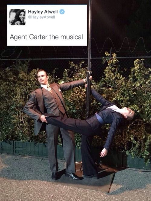 Hayley Atwell/Peggy Carter and James D'Arcy/Jarvis playing around between takes.  #agentcarter