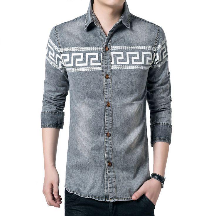 Купить товар2016 новинка мужской одежды классический печать джинсы рубашка тенденция свободного покроя мужчины рубашки с длинным рукавом slim подходят мужчины джинсовые рубашки 5XL в категории Рубашкина AliExpress.                                          Размер таблицы         Единица измерения: см              Азиатский размер  Пле