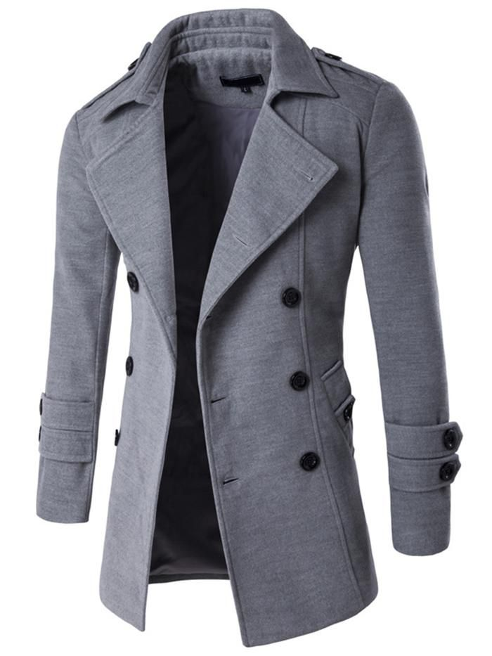 1b2fa56cdde19 Solid Color Lapel Double-Breasted Side Pocket Slim Fit Men s Woolen Coat