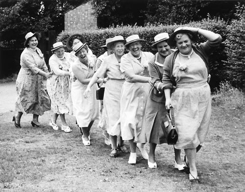 Grace Robertson. Conga Line, London Women's Pub Outing, 195  Simmons Pub Crawl back in the day? LOL!