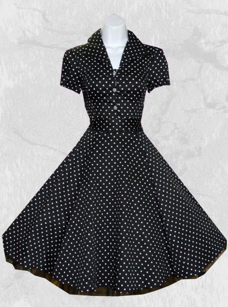 robe pois rockabilly vintage hr london black white small dot les pois des petits pois. Black Bedroom Furniture Sets. Home Design Ideas