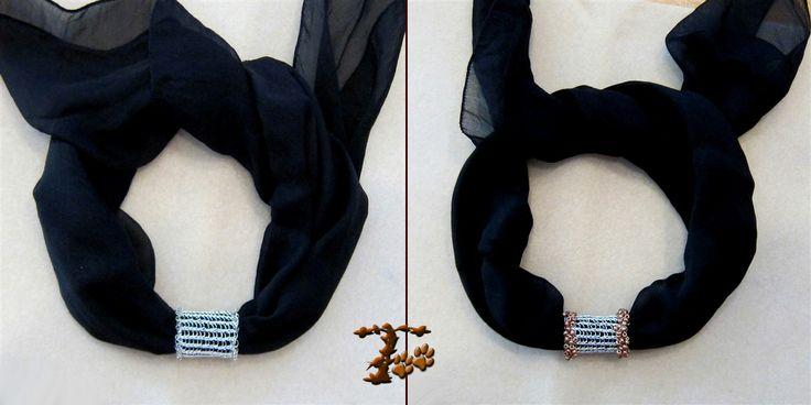 Διακοσμητικό για φουλάρια, από σύρμα χαλκού βαμμένο, πλεκτό με βελονάκι, με διάφορες χάντρες.