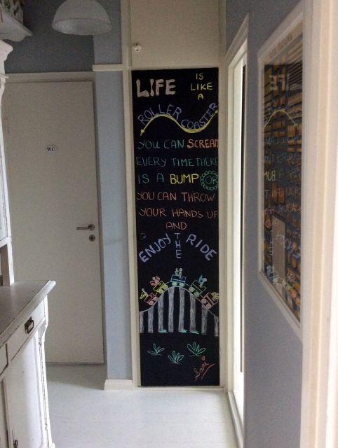 Blackboard art the cleaning cabinet door