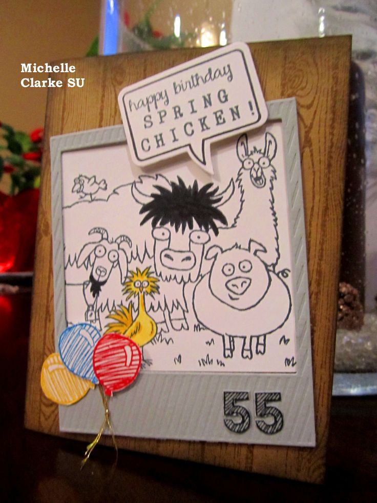 Stampin Up From The Herd Stamp set paired with the Rotary Stamp & Many More Messages. Created by Michelle Clarke