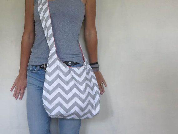 Cross Body Hobo Bag. Chevron Purse. OR Shoulder Bag. Small Purse. Gray and White Zig Zag Stripes. Reversible Fabric Purse. Spring Line.