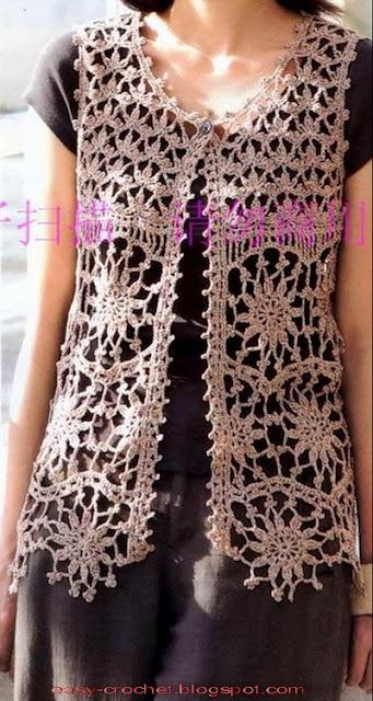 Beautiful crochet vest. Charted pattern. ༺✿ƬⱤღ  http://www.pinterest.com/teretegui/✿༻