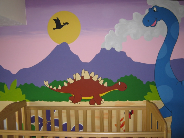 Dinosaur mural by me for Dinosaur wall mural uk