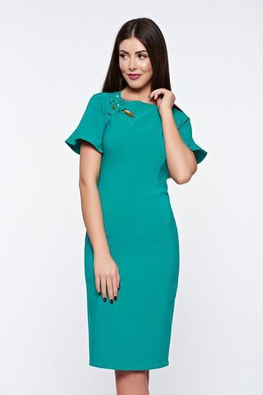 Rochie LaDonna verde eleganta captusita pe interior cu aplicatii cusute manual - http://hainesic.ro/rochii/rochie-ladonna-verde-eleganta-captusita-pe-interior-cu-aplicatii-cusute-manual-f9683539d-starshinersro/