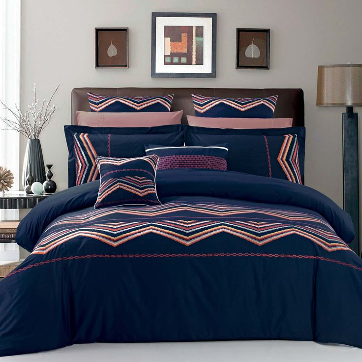 This North Home Horizon design has colourful embroidery on a deep navy background.This eye catcher background makes this pattern an outstanding choice for any bedroom.Duvet cover set: 100% combed cotton in 220 TC with multicoloured embroidery detailing.