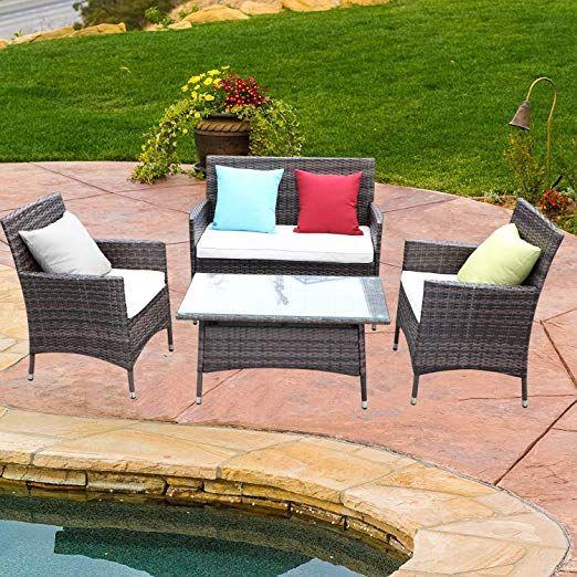 4 Pcs Rattan Outdoor Patio Furniture Set Garden Lawn Pool Backyard