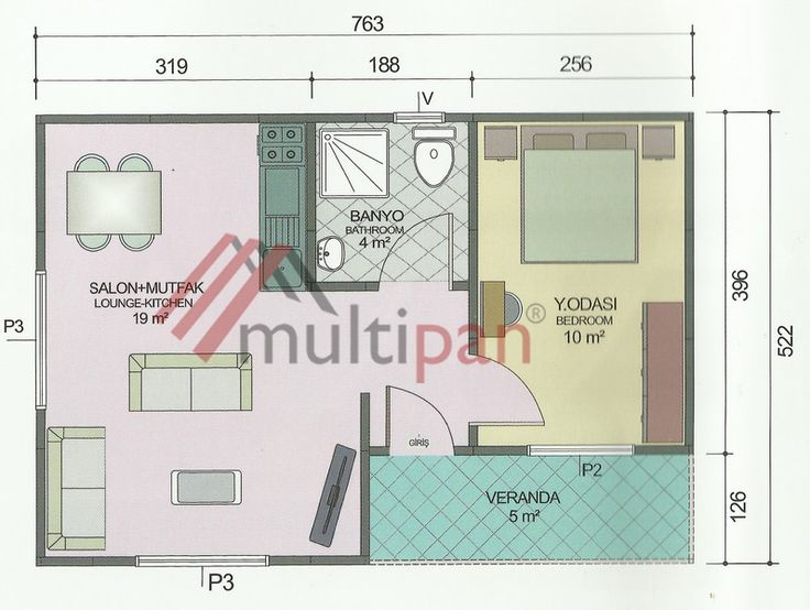 MP1 40 Square Meters Combined Lounge/Kitchen 1 Bedroom 1 Bathroom