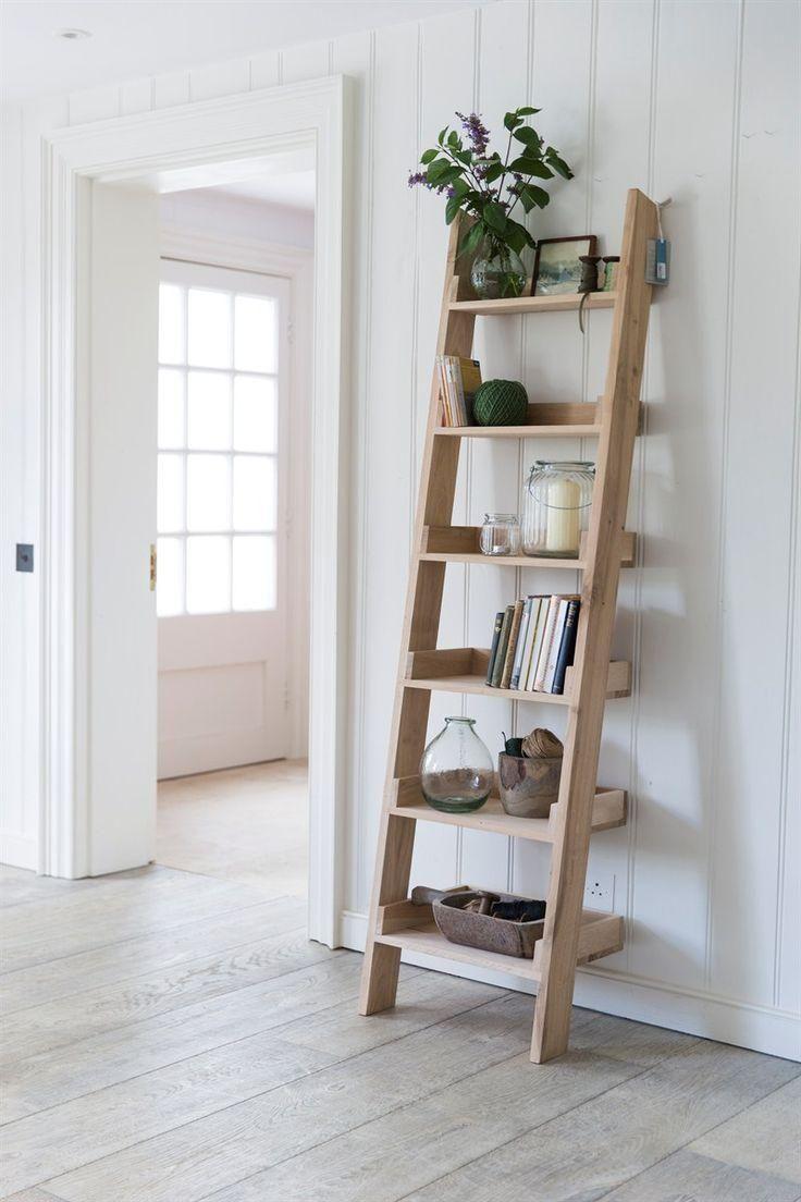 Chic Diy Home Ladder Outdoor Repurposed Shabby Shelf Shelves Outdoor Ladder Shelves Outdoor Ladder With Images Oak Shelves Shelves Ladder Shelf Decor