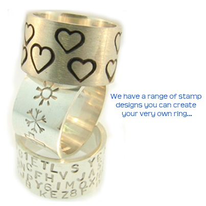 Awesome chunky sterling silver bands that can be stamped with your very own design! Exclusively made at Cameron Jewellery