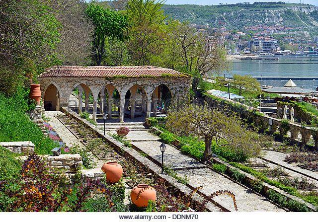 Roman bath in the yard of Balchik palace , Bulgaria - Stock Image