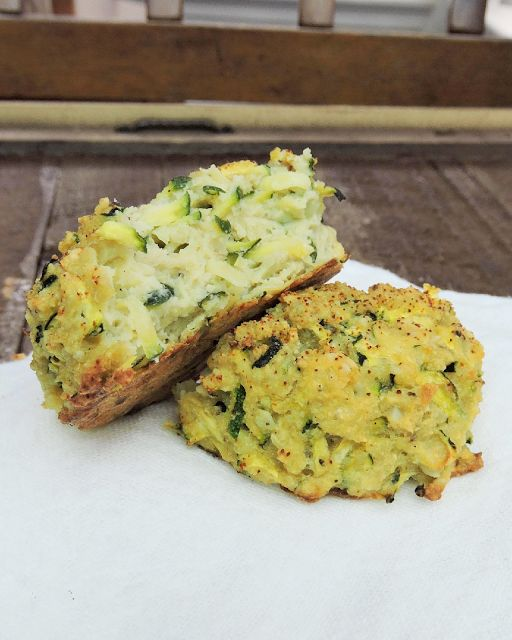 Grated zucchini with a cashew cheese create a Paleo and Whole30 biscuit, reminiscent of fried zucchini and cheesy bread.