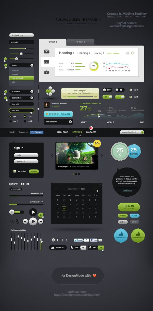 Futurico – Free User Interface Elements Pack - free d/l