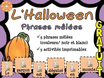 L'Halloween - Phrases mêlées - French Halloween - GRATUIT!