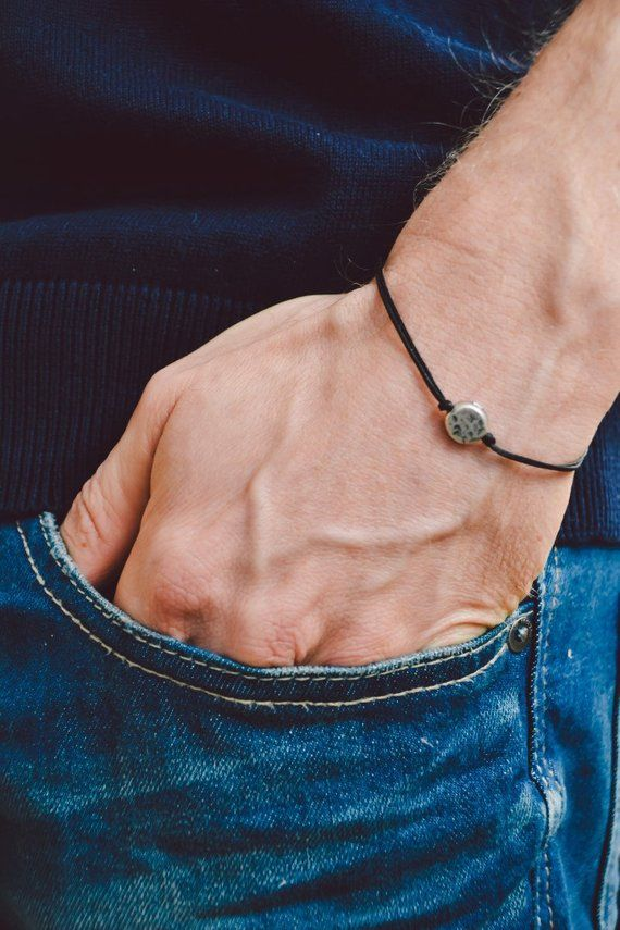 Men's bracelet, black cord bracelet for men with a silver round charm, black cord, bracelet for men, gift for him, men's jewelry, karma