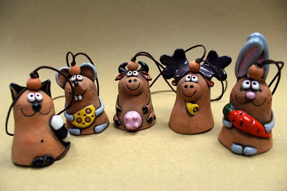 Small Animal Bells Ceramic Miniatures Children gift by Molinukas