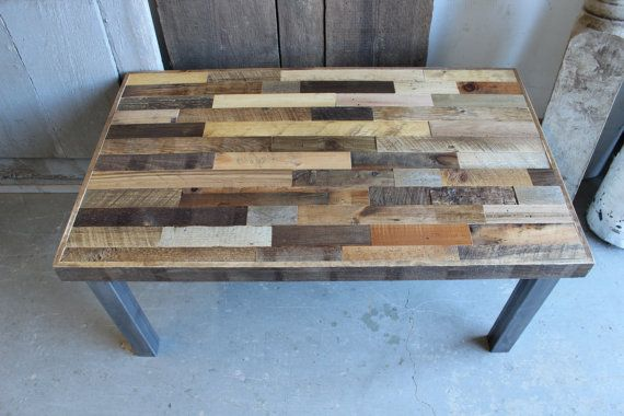 Reclaimed Pallet and Barn Wood Coffee Table with Steel Legs - Leonids on Etsy, $605.00