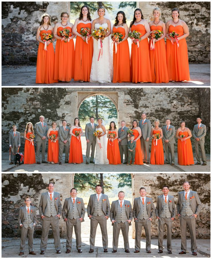 Orange bridesmaid dresses and gray groomsmen suits. First look pictures were…