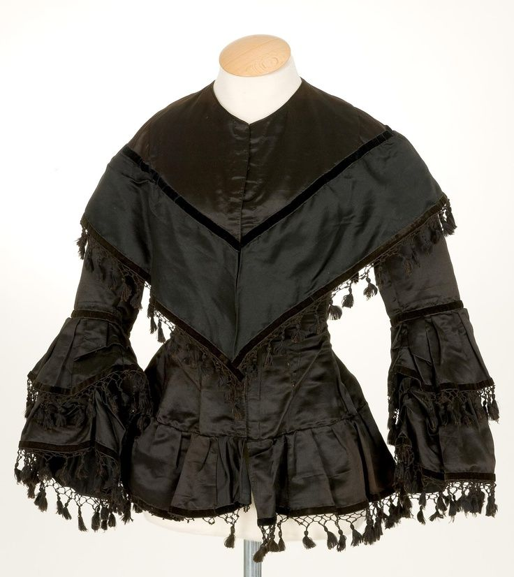 1850-1865, appears to be silk, perhaps mourning attire, source unknown.