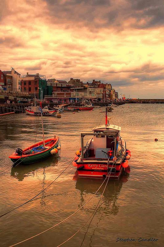 Boats in the harbour, Bridlington, East Yorkshire, England.