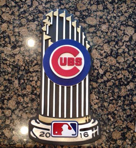 Chicago cubs trophy sign. World Series 2016 trophy wood sign. Hand made by Kate hall. Custom woodworking. Cubs decor.