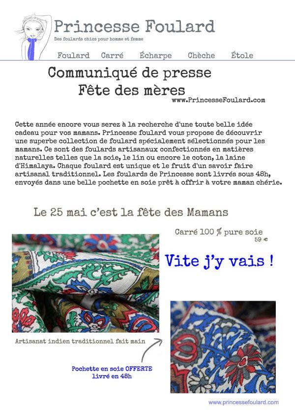 Communiqué de presse de Princesse foulard, ses idées de cadeau fête des mères original et mode, des accessoires de mode tel le foulard pour les mamans.