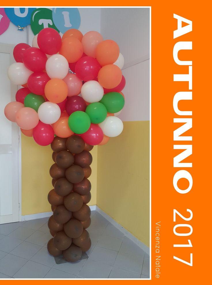 Albero autunnale palloncini - Tree autumn balloons - Autumn decorations