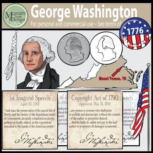 The President George Washington Clipart set contains 28 high resolution full color and black line PNGs. The set is designed to be coupled with my other US Presidential mini spotlight sets. This is a great set for Presidents Day, or any early American History lesson plans.