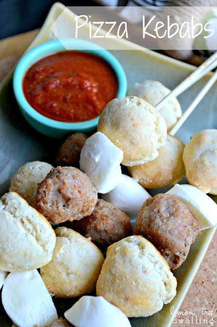 Pizza Kebabs ~ All the components of pizza...on a stick! These Deconstructed Pizza Kebabs will be your kids' favorite new meal (and they can even help you make it)!
