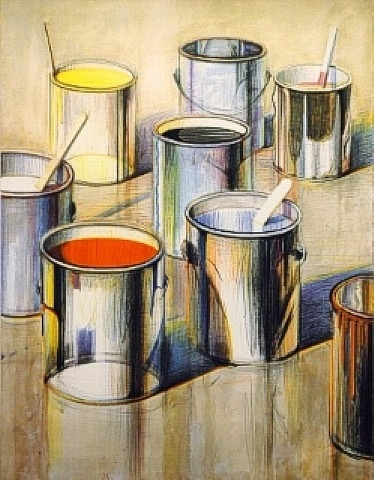 Wayne Thiebaud | Paint Cans This was in my  Design book! So memorable!