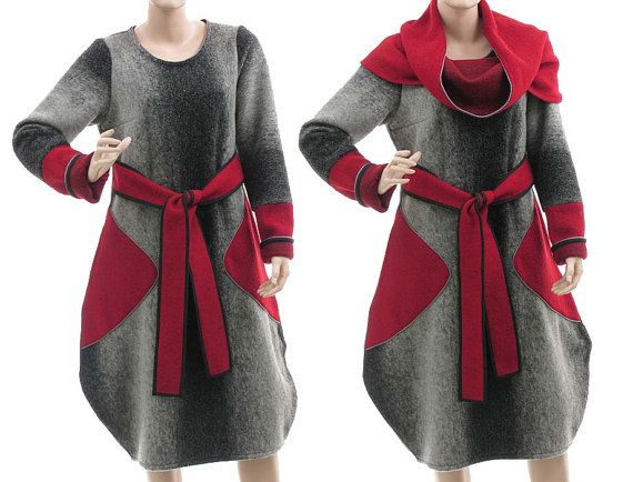Artistic tulip dress boiled wool grey red - lagenlook for small medium sized women - SALE via Etsy