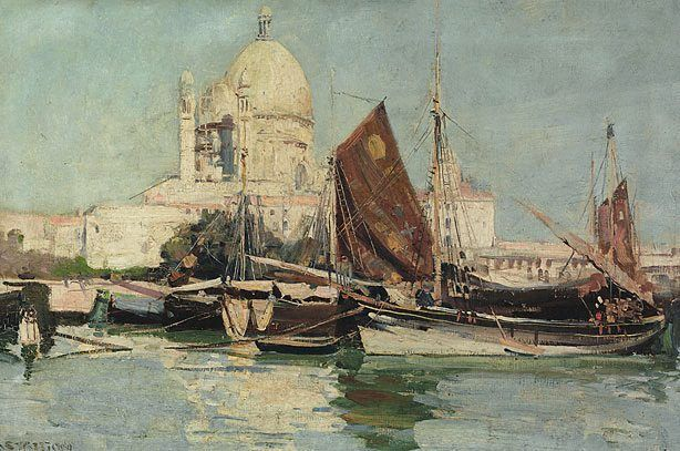Fishing boats, Venice, (1908) by Arthur Streeton :: The Collection :: Art Gallery NSW