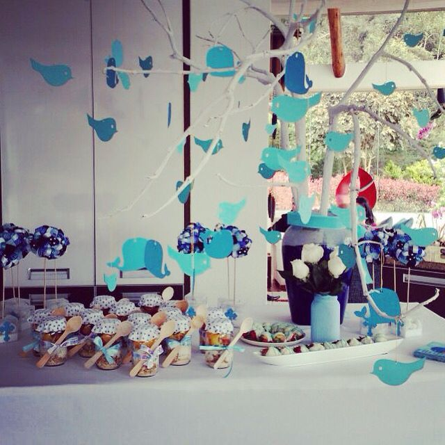 Dessert table for baptism party.