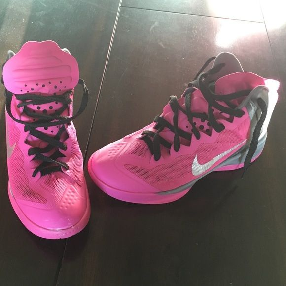 Pink Basketball Shoes! Men's 6.5/ Women's 8 Special Edition Breast Cancer shoes! Pink Nike high top basketball shoes that are in great condition! Slight scuffing on one shoe.. Nike Shoes Athletic Shoes