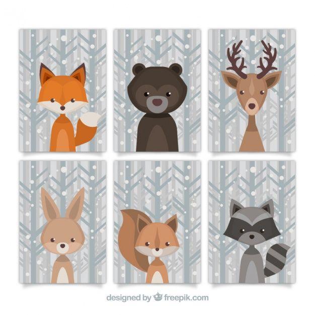 Belle collection d'animaux de la forêt dans le style vintage Vecteur gratuit