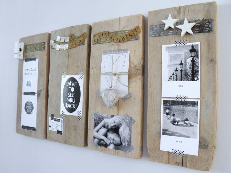 Decoratie zwart wit op steigerhouten memobord