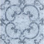 Splashback Tile Marquess Carrera Polished Marble Floor and Wall Tile - 3 in. x 6 in. Tile Sample, Blue