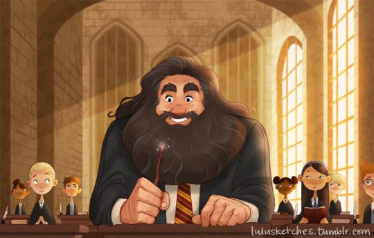 Hagrid going back to Hogwarts after the war by lulu's art blog >>> This is the most adorable thing I've seen today