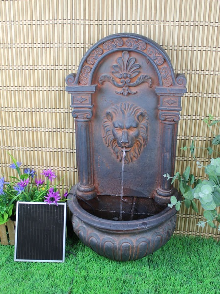 Charmant Classic Lion Solar On Demand Wall Fountain Rust Tone $179