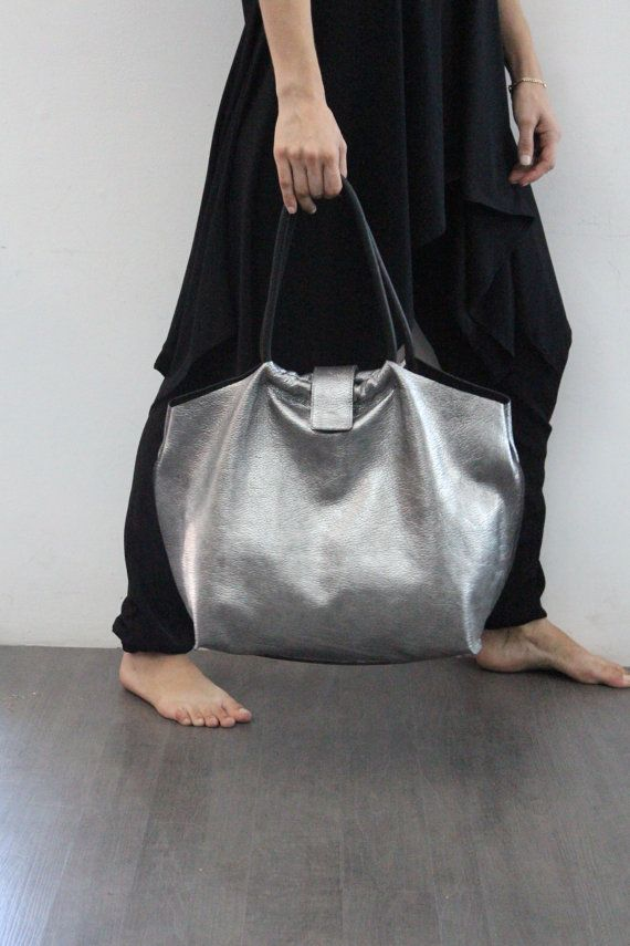 Silver Leather Bag Soft Leather Tote Bag by LadyBirdesign, $175.00