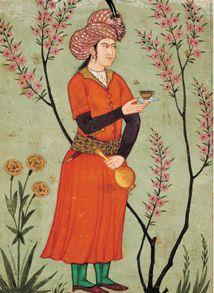 Prince tenant une tasse et un flacon, page du Large Clive Album, miniature indo-persane inspirée de lécole dIspahan, 1640. Victoria and Albert Museum, Londres.